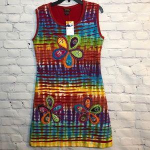 NWT Rising Int. Nepal Cotton TieDye Hippie Dress
